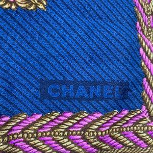 CHANEL Blue Silk Scarf Chain link pattern
